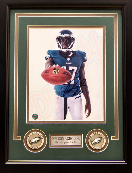 "Nelson Agholor Studio Philadelphia Eagles Autographed NFL Football 8"" x 10"" Framed and Matted Photo"