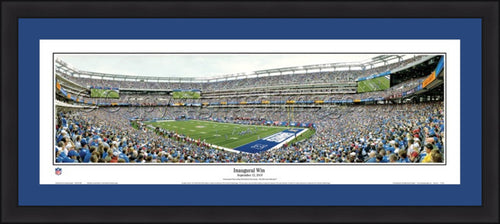 "New York Giants Inaugural Win 42"" x 18"" Framed and Matted Stadium Panorama - Dynasty Sports & Framing"