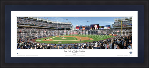 "New York Yankees Inaugural Opening Day 42"" x 18"" Framed and Matted Stadium Panorama - Dynasty Sports & Framing"