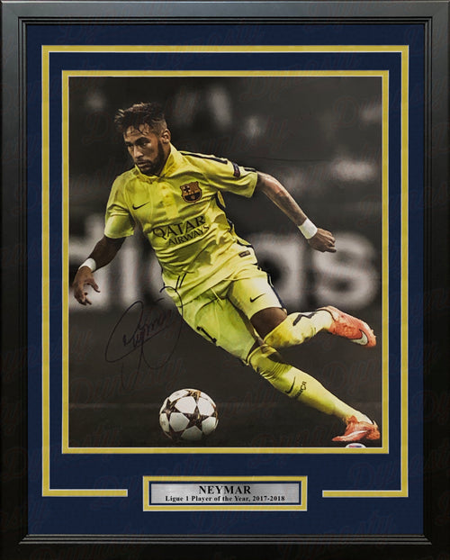 "Neymar Spotlight Autographed 16"" x 20"" Framed Soccer Photo"