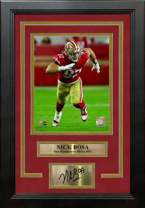 "Nick Bosa in Action San Francisco 49ers 8"" x 10"" Framed Football Photo with Engraved Autograph - Dynasty Sports & Framing"