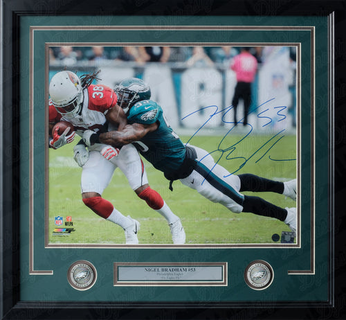 Nigel Bradham Making a Tackle Philadelphia Eagles Autographed NFL Football Framed and Matted Photo - Dynasty Sports & Framing
