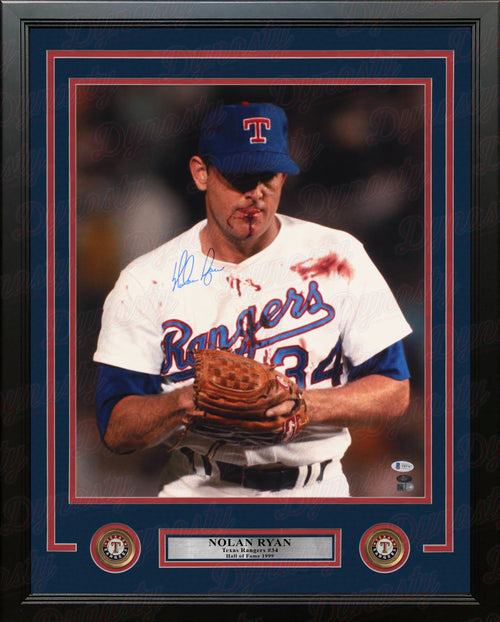 "Nolan Ryan Bloody Lip Texas Rangers Autographed 16"" x 20"" Framed Baseball Photo - Dynasty Sports & Framing"
