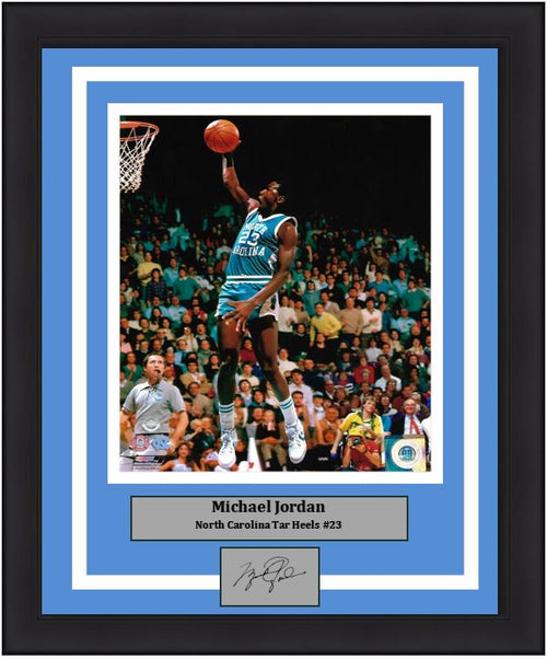 Michael Jordan in Action North Carolina Tar Heels 8x10 Framed College Photo with Engraved Autograph - Dynasty Sports & Framing