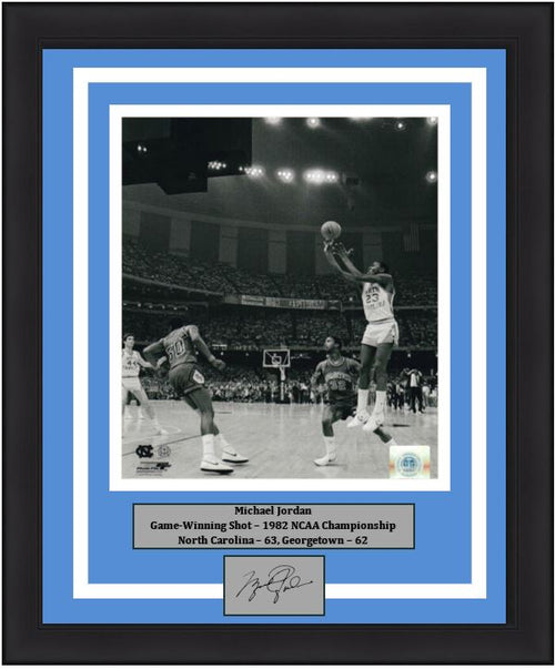 "Michael Jordan North Carolina Tar Heels 1982 Finals Game-Winning Shot NCAA College Basketball 8"" x 10"" Framed and Matted Photo with Engraved Autograph"