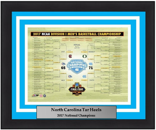 "North Carolina Tar Heels 2017 NCAA Tournament Bracket Basketball 8"" x 10"" Framed and Matted Photo"