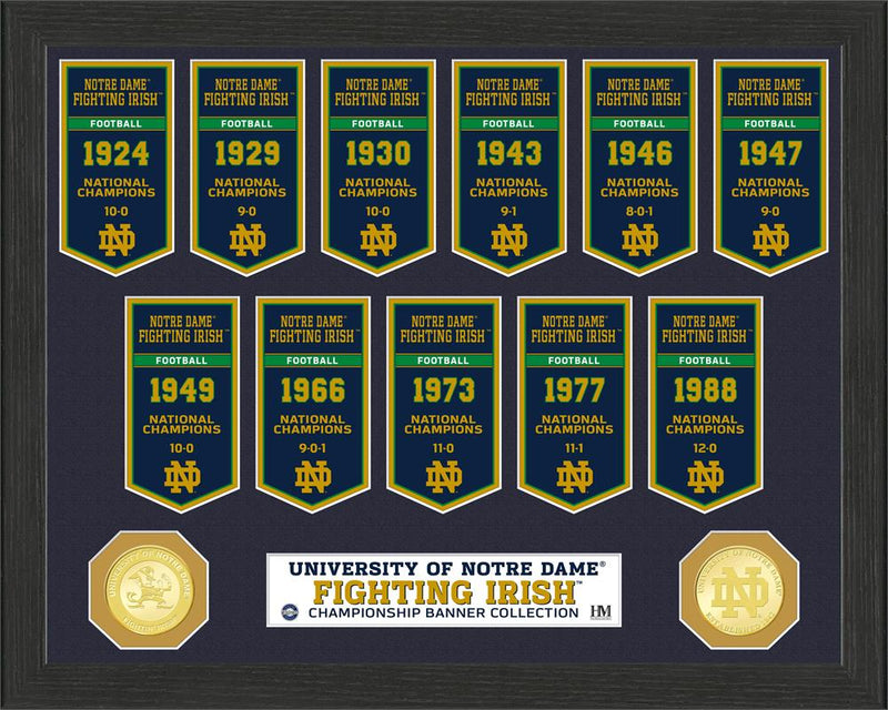 Notre Dame Fighting Irish National Championship Banner Framed Collage - Dynasty Sports & Framing