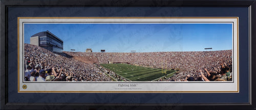 Notre Dame Fighting Irish Stadium NCAA College Football Rob Arra Framed and Matted Stadium Panorama - Dynasty Sports & Framing