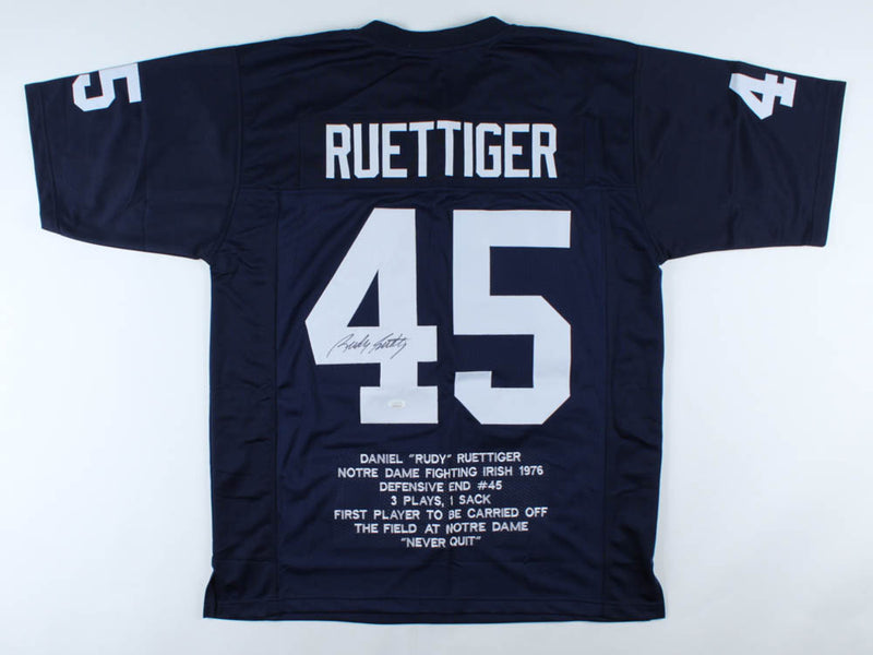Rudy Ruettiger Notre Dame Fighting Irish Autographed Career Highlight Stats Jersey - Dynasty Sports & Framing