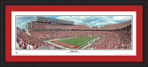 "Ohio State Buckeyes 48 Yard Line 42"" x 18"" Framed and Matted Stadium Panorama - Dynasty Sports & Framing"