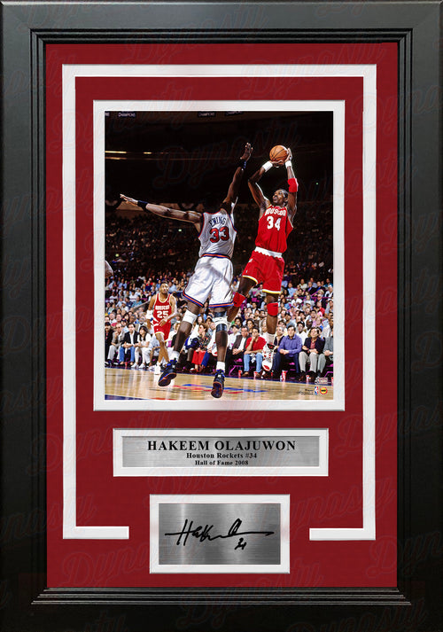 "Hakeem Olajuwon in Action Houston Rockets 8"" x 10"" Framed Basketball Photo with Engraved Autograph - Dynasty Sports & Framing"