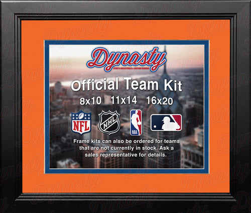 NHL Hockey Photo Picture Frame Kit - Edmonton Oilers (Orange Matting, Blue Trim) - Dynasty Sports & Framing