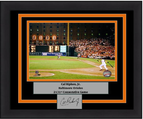 "Baltimore Orioles Cal Ripken, Jr. 2131st Game Engraved Autograph MLB Baseball 8"" x 10"" Framed & Matted Photo (Dynasty Signature Collection) - Dynasty Sports & Framing"