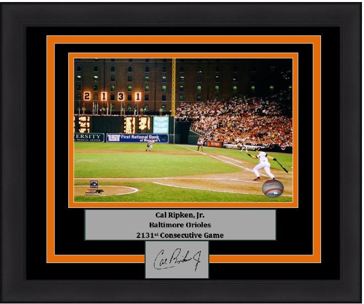 "Baltimore Orioles Cal Ripken, Jr. 2131st Game Engraved Autograph MLB Baseball 8"" x 10"" Framed & Matted Photo (Dynasty Signature Collection)"