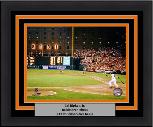 "Baltimore Orioles Cal Ripken, Jr. 2131st Game MLB Baseball 8"" x 10"" Framed and Matted Photo"