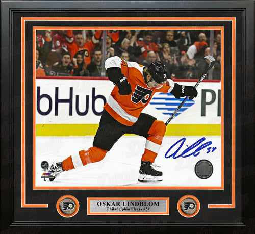 "Oskar Lindblom First Goal Celebration Philadelphia Flyers Autographed Framed 16"" x 20"" Hockey Photo - Dynasty Sports & Framing"