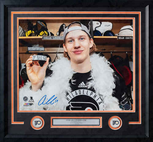 Oskar Lindblom First Goal Locker Room Philadelphia Flyers Autographed Hockey Framed and Matted Photo - Dynasty Sports & Framing