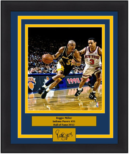 "Reggie Miller v. John Starks Indiana Pacers 8"" x 10"" Framed Basketball Photo with Engraved Autograph - Dynasty Sports & Framing"