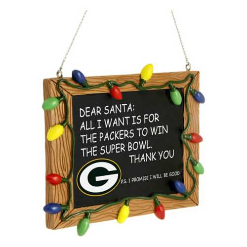 Green Bay Packers Chalkboard Sign Ornament - Dynasty Sports & Framing