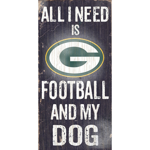 Green Bay Packers Football and My Dog Wooden Sign - Dynasty Sports & Framing
