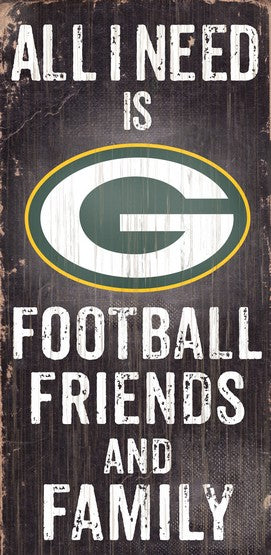 Green Bay Packers Football and My Friends & Family Wood Sign - Dynasty Sports & Framing