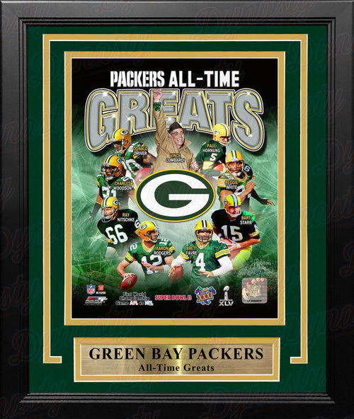 "Green Bay Packers All-Time Greats NFL Football 8"" x 10"" Framed and Matted Photo - Dynasty Sports & Framing"