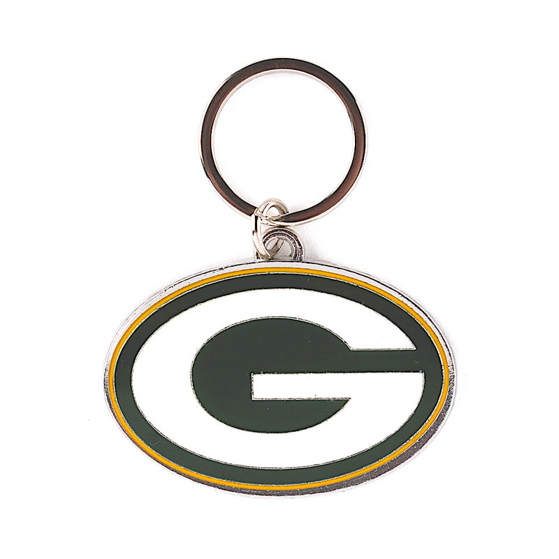 Green Bay Packers Metal Logo Football Keychain - Dynasty Sports & Framing