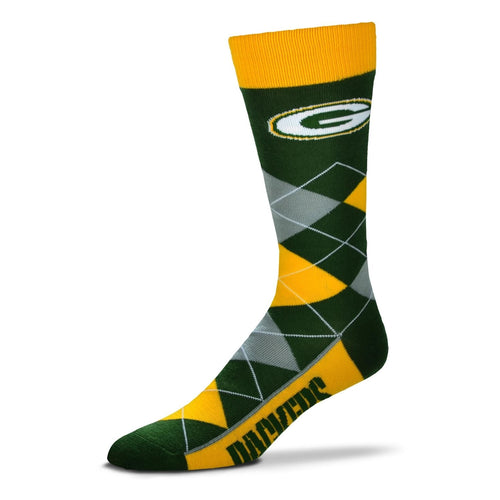 Green Bay Packers Men's NFL Football Argyle Lineup Socks - Dynasty Sports & Framing