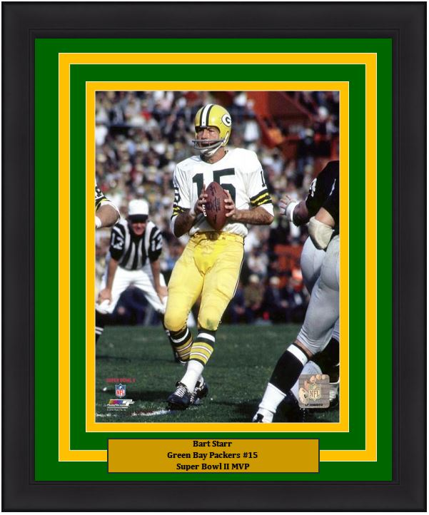 "Bart Starr Green Bay Packers Super Bowl II NFL Football 8"" x 10"" Framed and Matted Photo"