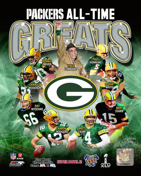 "Green Bay Packers All-Time Greats NFL Football 8"" x 10"" Photo"