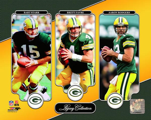 Bart Starr, Brett Favre, & Aaron Rodgers Green Bay Packers 8x10 Football Quarterback Legacy Photo - Dynasty Sports & Framing