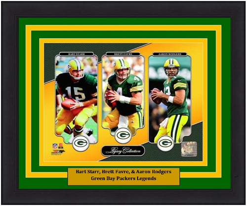 "Bart Starr, Brett Favre, & Aaron Rodgers Green Bay Packers NFL Football 8"" x 10"" Framed and Matted Quarterback Legacy Photo"