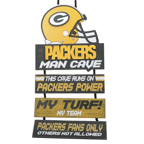 Green Bay Packers NFL Football Wooden Helmet Man Cave Dangle Sign - Dynasty Sports & Framing