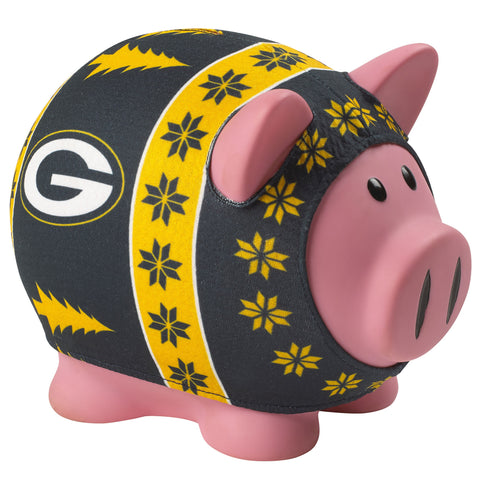 Green Bay Packers Busy Block Sweater Pig Bank - Dynasty Sports & Framing