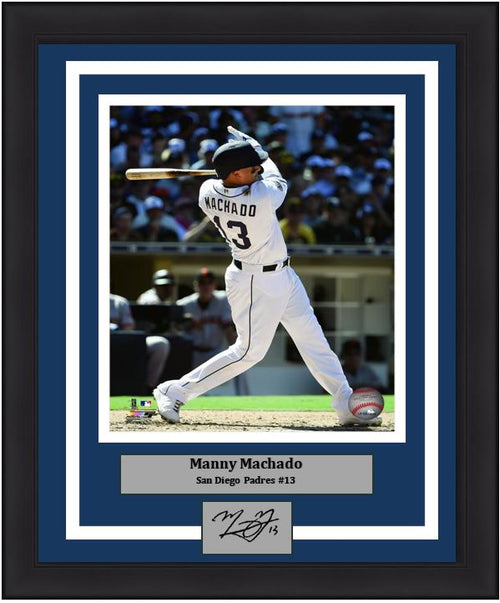 "Manny Machado San Diego Padres Swing MLB Baseball 8"" x 10"" Framed and Matted Photo with Engraved Autograph - Dynasty Sports & Framing"