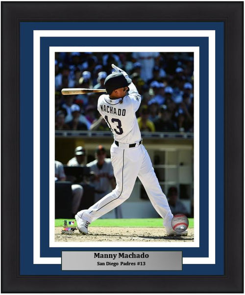 "Manny Machado San Diego Padres Swing MLB Baseball 8"" x 10"" Framed and Matted Photo - Dynasty Sports & Framing"