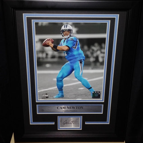 "Carolina Panthers Cam Newton Engraved Autograph NFL Football 8"" x 10"" Framed and Matted Photo (Dynasty Signature Collection) - Dynasty Sports & Framing"