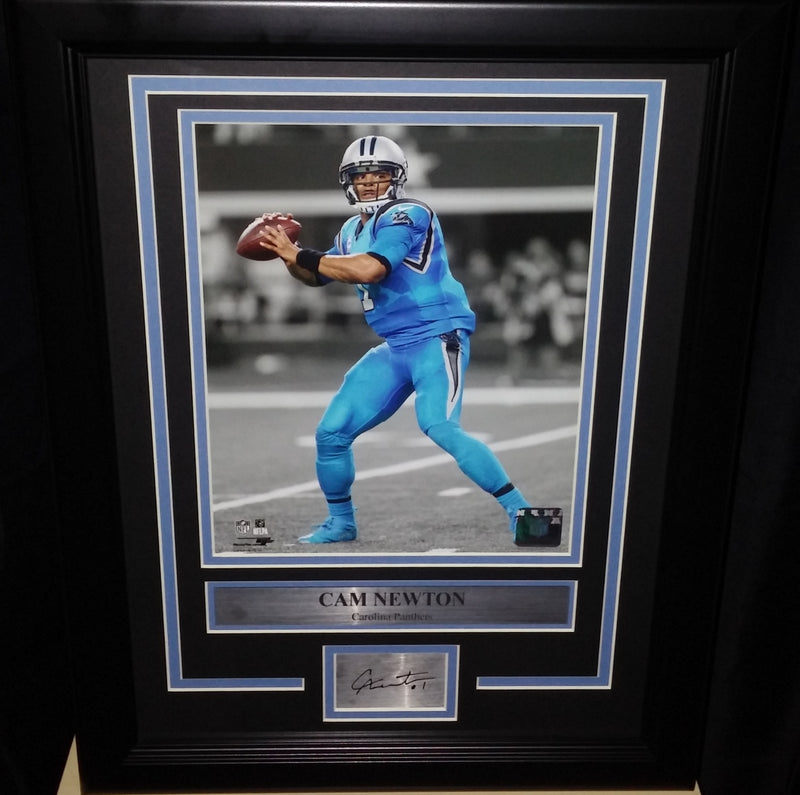 "Cam Newton Carolina Panthers NFL Football 8"" x 10"" Framed and Matted Photo with Engraved Autograph - Dynasty Sports & Framing"