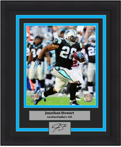 "Jonathan Stewart Carolina Panthers NFL Football 8"" x 10"" Framed and Matted Photo with Engraved Autograph"