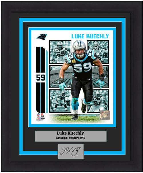 "Luke Kuechly Player Collage Carolina Panthers NFL Football 8"" x 10"" Framed and Matted Photo with Engraved Autograph"