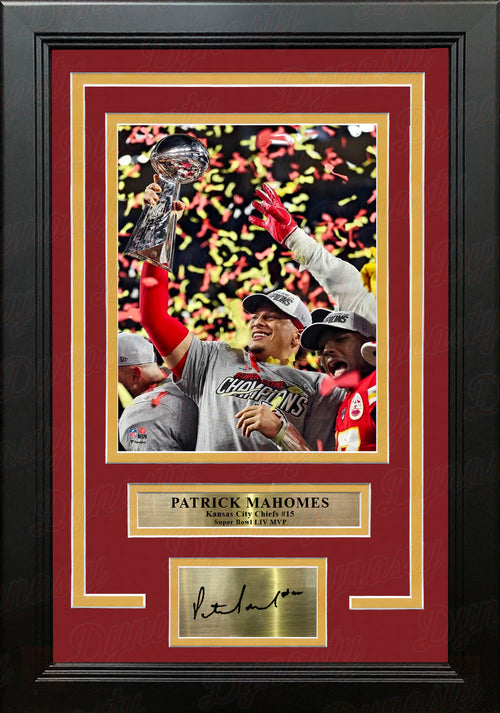 Patrick Mahomes Lombardi Trophy Super Bowl LIV Chiefs 8x10 Framed Photo with Engraved Autograph