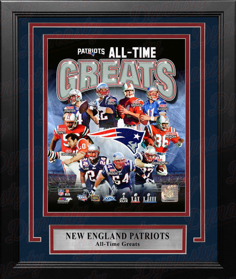 "New England Patriots All-Time Greats NFL Football 8"" x 10"" Framed and Matted Photo - Dynasty Sports & Framing"