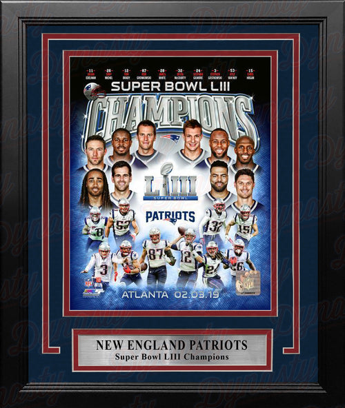"New England Patriots Super Bowl LIII Champions Collage NFL Football 8"" x 10"" Framed Photo - Dynasty Sports & Framing"