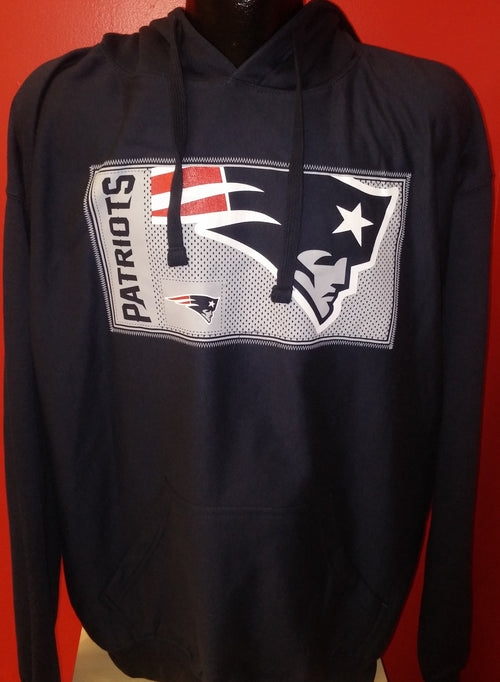 New England Patriots NFL Football Matrix Navy Pullover Hooded Sweatshirt