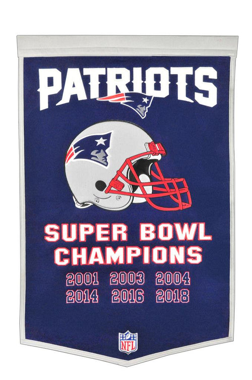 New England Patriots NFL Super Bowl Dynasty Banner - Dynasty Sports & Framing