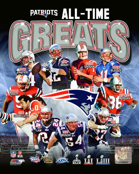 "New England Patriots All-Time Greats NFL Football 8"" x 10"" Photo - Dynasty Sports & Framing"