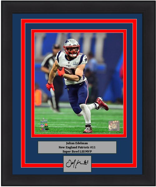 Julian Edelman Super Bowl LIII Action New England Patriots 8x10 Framed Photo with Engraved Autograph - Dynasty Sports & Framing