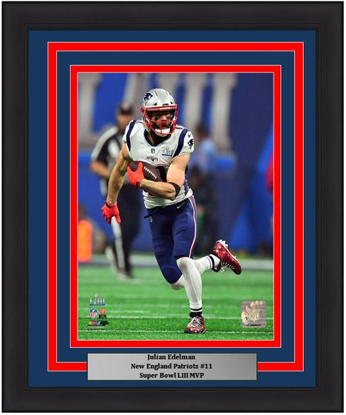 "New England Patriots Julian Edelman Super Bowl LIII MVP NFL Football 8"" x 10"" Framed and Matted Action Photo - Dynasty Sports & Framing"