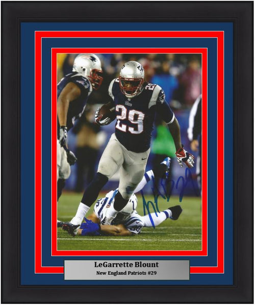 "LeGarrette Blount v. Colts New England Patriots Autographed NFL Football 8"" x 10"" Framed and Matted Photo"