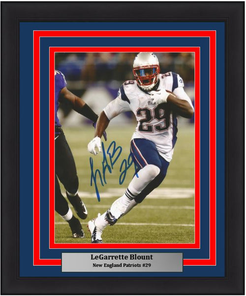 "LeGarrette Blount v. Ravens New England Patriots Autographed NFL Football 8"" x 10"" Framed and Matted Photo"